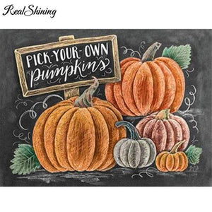 5D Diamond Painting Chalk Board Pick your Own Pumpkins Kit