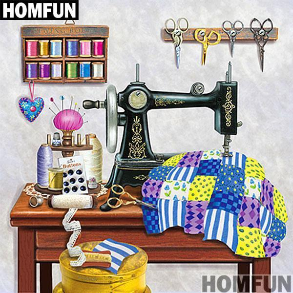 5D Diamond Painting Checkered Quilt Sewing Room Kit