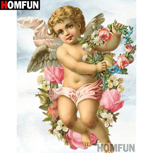 5D Diamond Painting Cherub and Flowers Kit