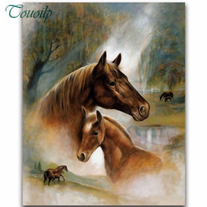 5D Diamond Painting Chestnut Horse Collage Kit