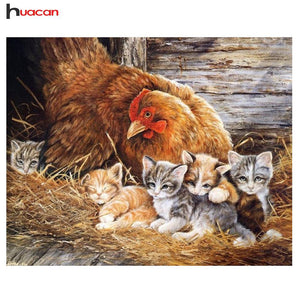5D Diamond Painting Chicken and Kittens Kit