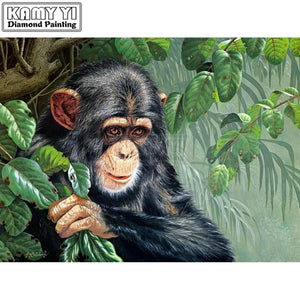 5D Diamond Painting Chimpanzee in the Leaves Kit