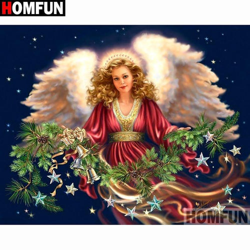 5D Diamond Painting Christmas Angel with Star Garland Kit