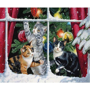 5D Diamond Painting Christmas Cats in the Window Kit