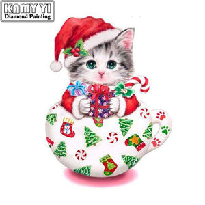 5D Diamond Painting Christmas Kitten Teacup Kit