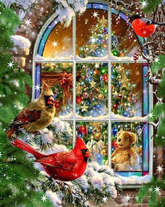 5D Diamond Painting Christmas Snow Birds Kit