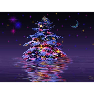5D Diamond Painting Christmas Tree in the Water Kit