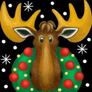5D Diamond Painting Christmas Wreath Moose Kit