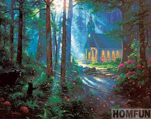 5D Diamond Painting Church in the Woods Kit