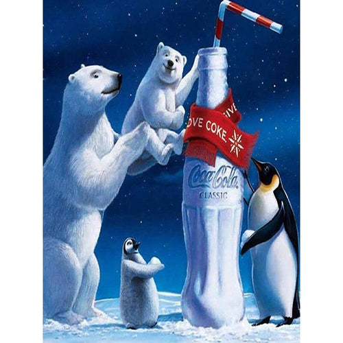 5D Diamond Painting Coca Cola Penguins and Polar Bears Kit