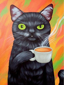 5D Diamond Painting Coffee Cat Kit