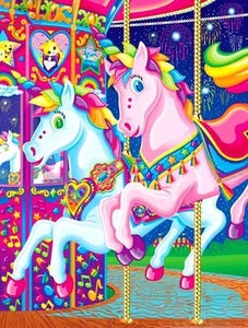 5D Diamond Painting Colorful Carousel Horses Kit