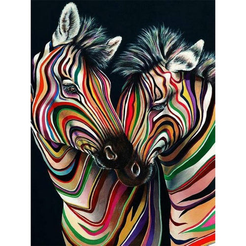 5D Diamond Painting Colorful Zebras Kit