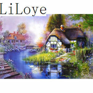 5D Diamond Painting Cottage to the Lake kit