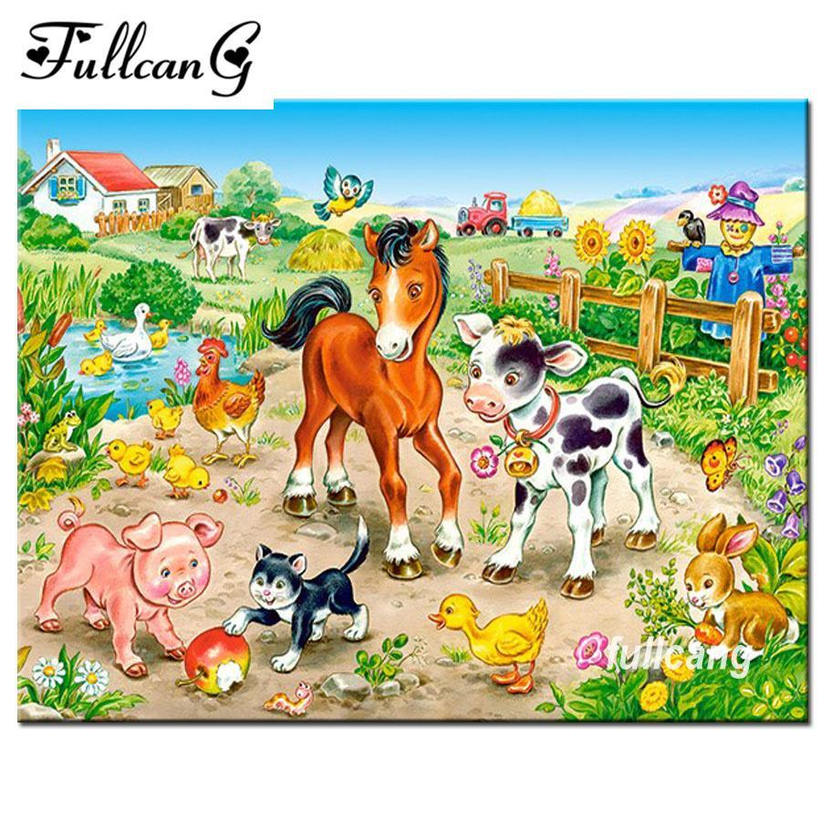 5D Diamond Painting Country Farm Animals Kit