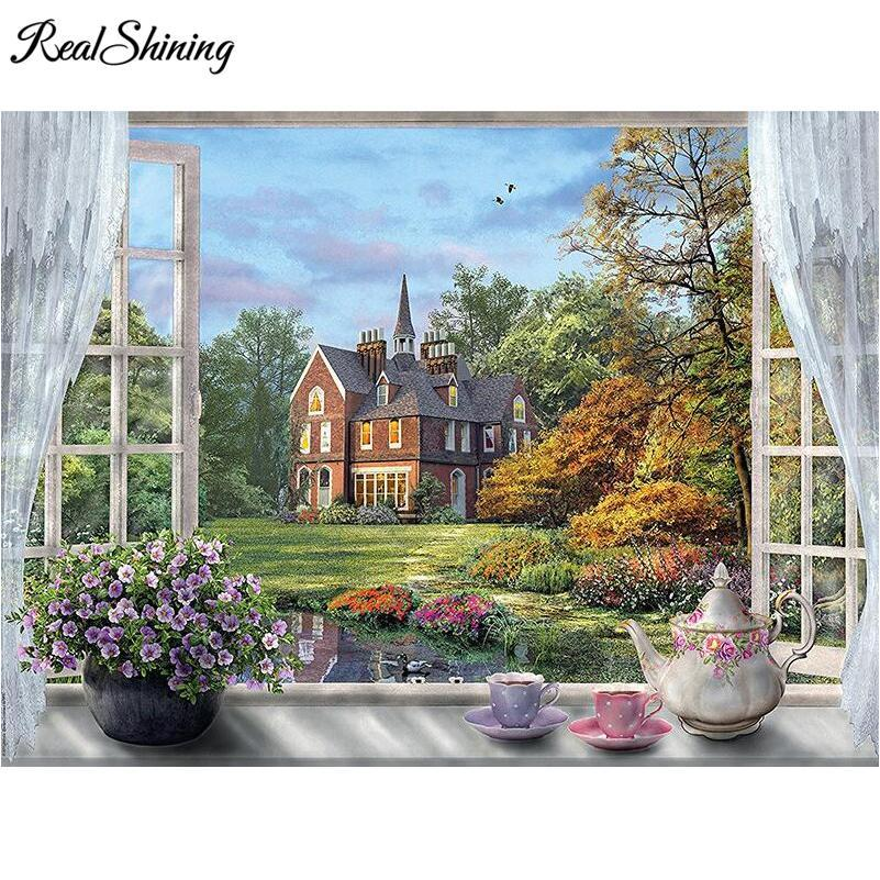5D Diamond Painting Country Mansion Window View Kit