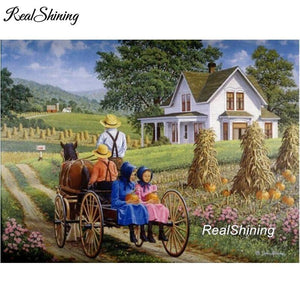 5D Diamond Painting Countryside Farm Wagon Ride Kit