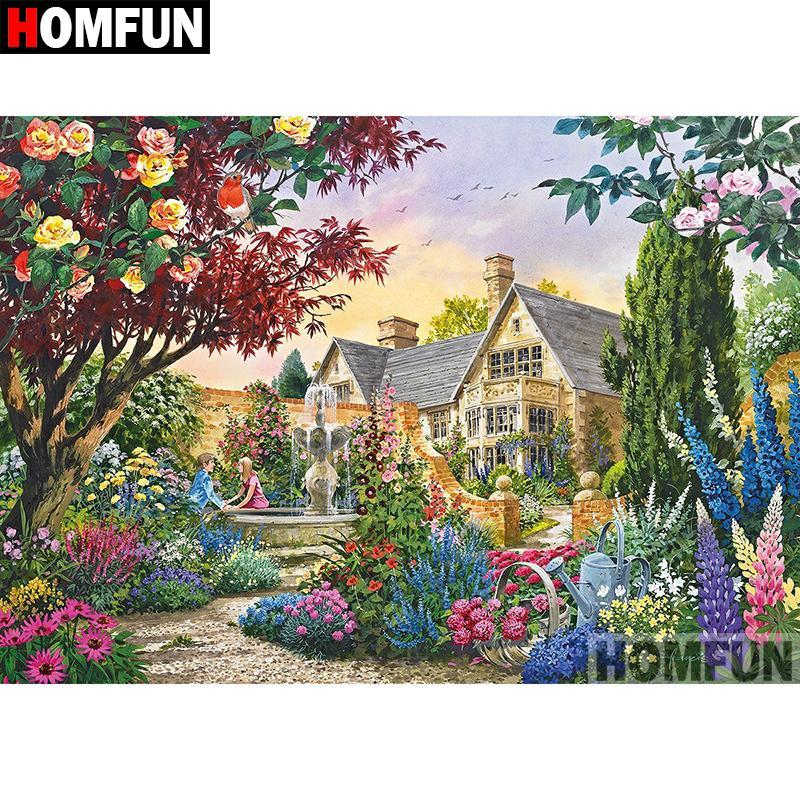 5D Diamond Painting Couple by the Fountain Kit