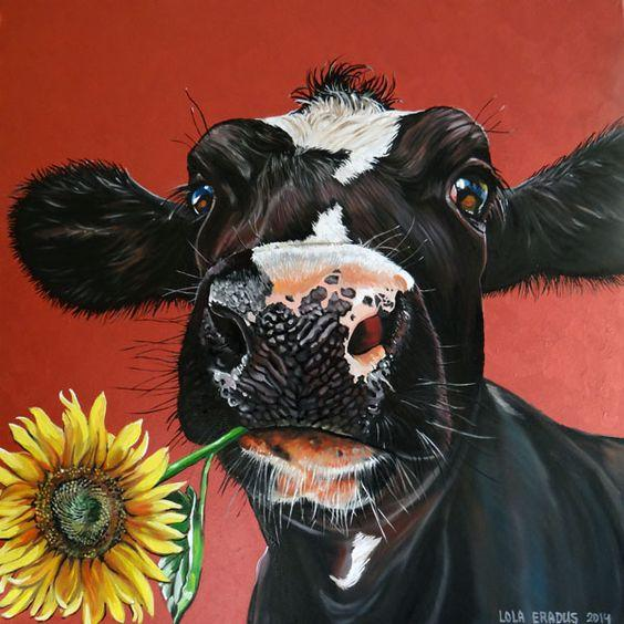 5D Diamond Painting Cow with a Sunflower Kit