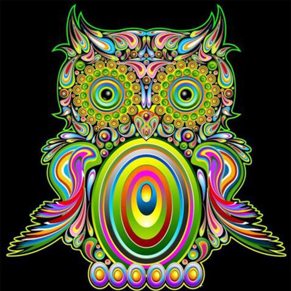 5D Diamond Painting Crazy Colorful Owl Kit