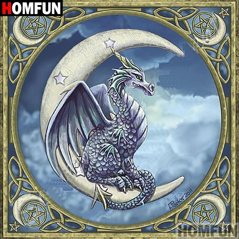 5D Diamond Painting Crescent Moon Dragon Kit