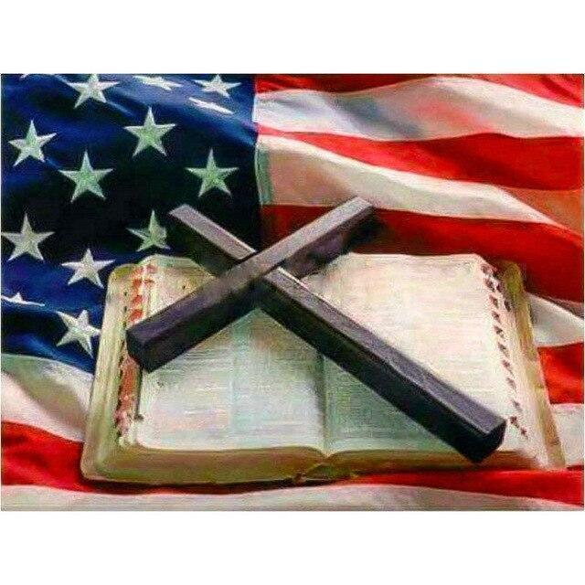 5D Diamond Painting Cross, Bible & Flag Kit