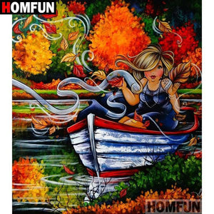5D Diamond Painting Curvy Girl Boating Kit