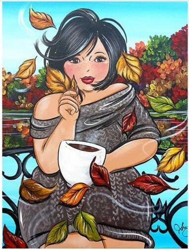 5D Diamond Painting Curvy Woman Fall Coffee Kit