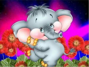 5D Diamond Painting Cute Baby Elephant Kit