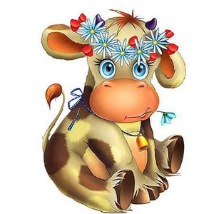 5D Diamond Painting Cute Cow with Flower Crown Kit