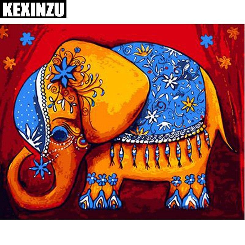 5D Diamond Painting Decorated Elephant with a Howdah on his back Kit