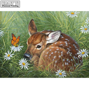 5D Diamond Painting Deer Fawn in the Daisies Kit