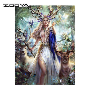 5D Diamond Painting Deer Princess Kit