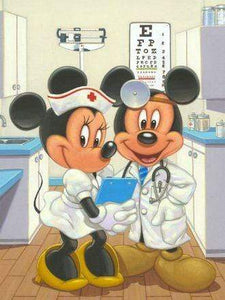 5D Diamond Painting Doctor & Nurse Mickey and Minnie Mouse Kit