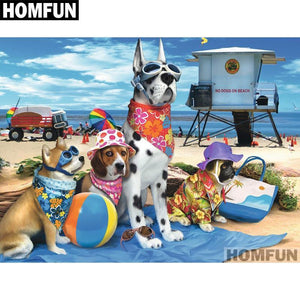 5D Diamond Painting Dog Beach Kit