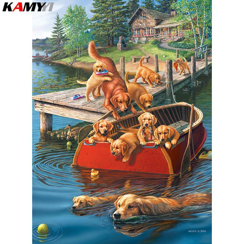 5D Diamond Painting Dog Boat Kit