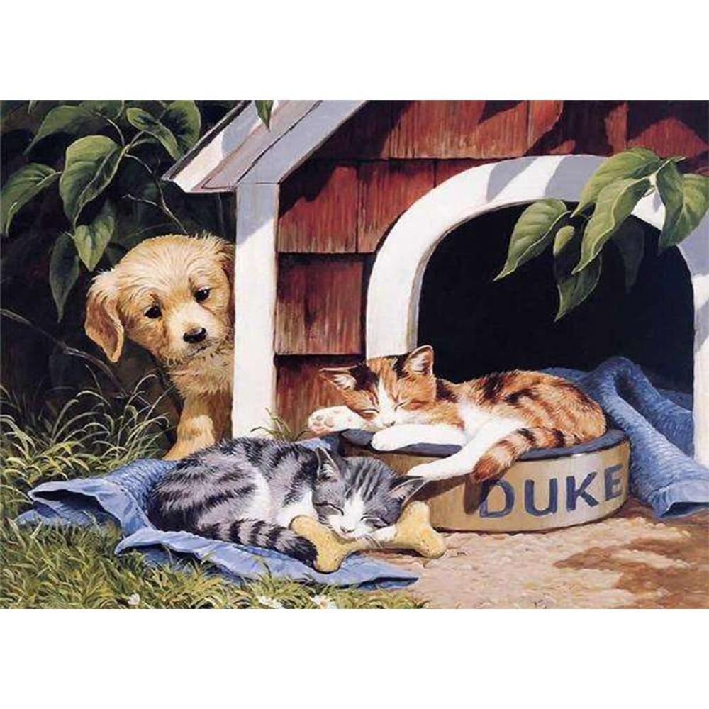 5D Diamond Painting Dog House Take Over Kit