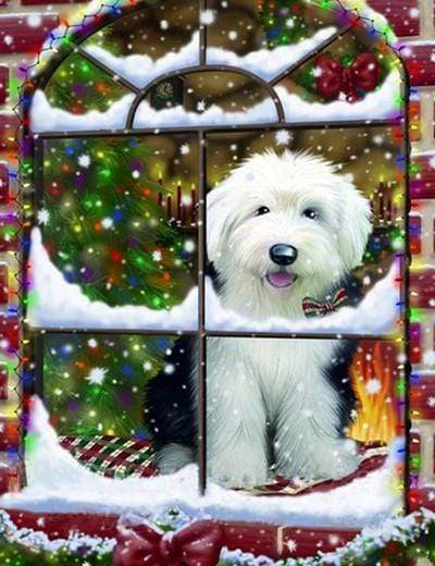 5D Diamond Painting Dog in the Christmas Window Kit