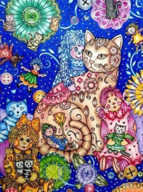 5D Diamond Painting Dolls and Cats Abstract Pattern Kit