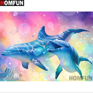 5D Diamond Painting Dolphin in Bubbles Kit