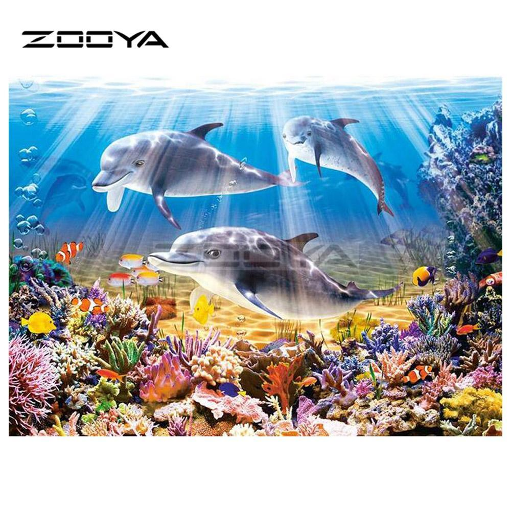 5D Diamond Painting Dolphins and the Corral Reef Kit