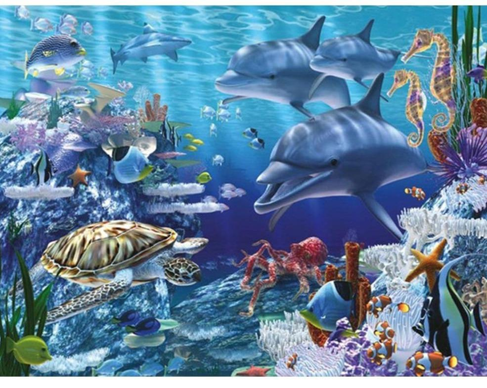 5D Diamond Painting Dolphins and Turtle Kit