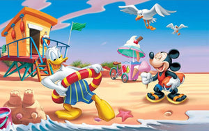 5D Diamond Painting Donald and Mickey Beach Time Fun Kit