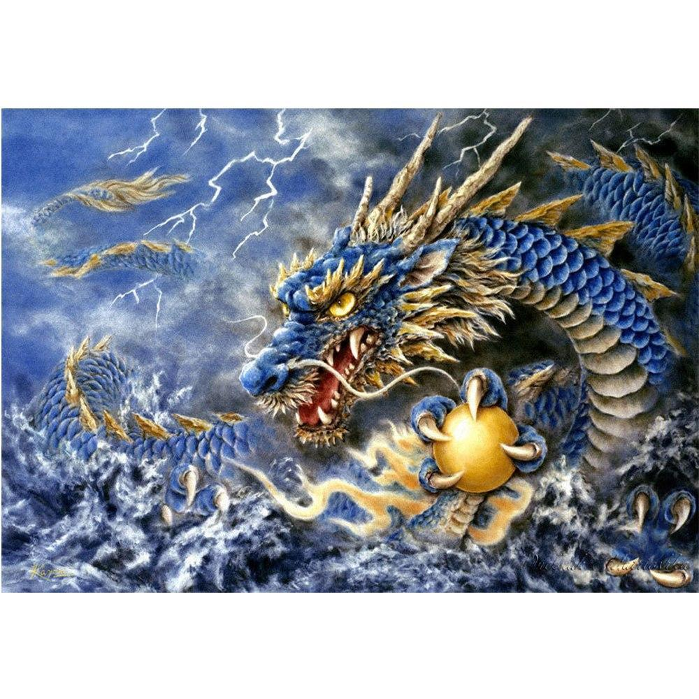 5D Diamond Painting Dragon and the Golden Ball Kit