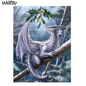 5D Diamond Painting Dragon Under the Mistletoe Kit