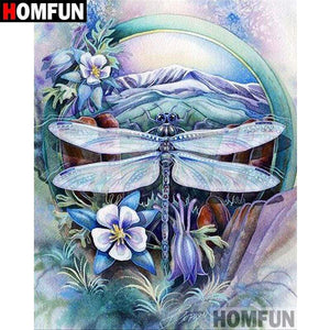 5D Diamond Painting Dragonfly Mountain Circle Kit