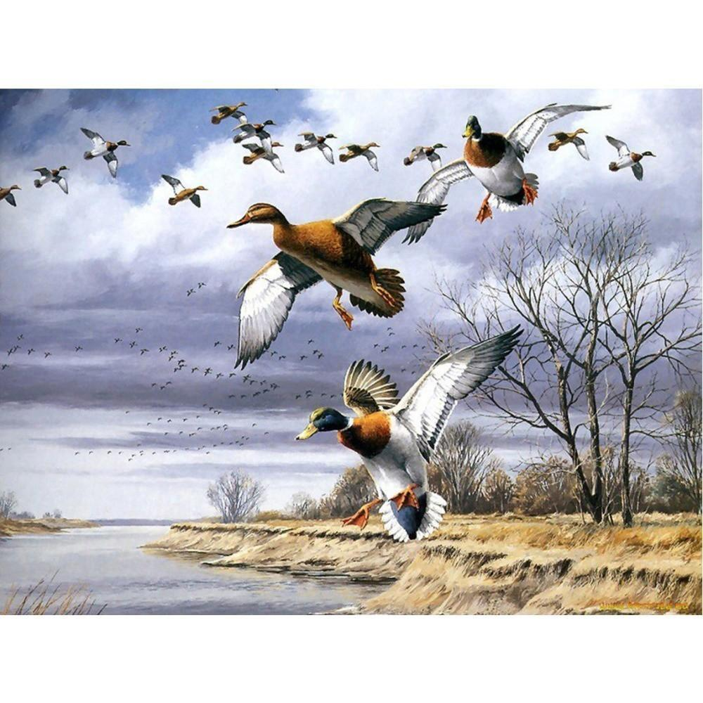 5D Diamond Painting Ducks in Flight Kit