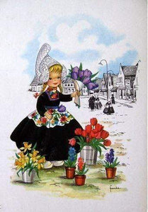 5D Diamond Painting Dutch Girl with Tulips Kit