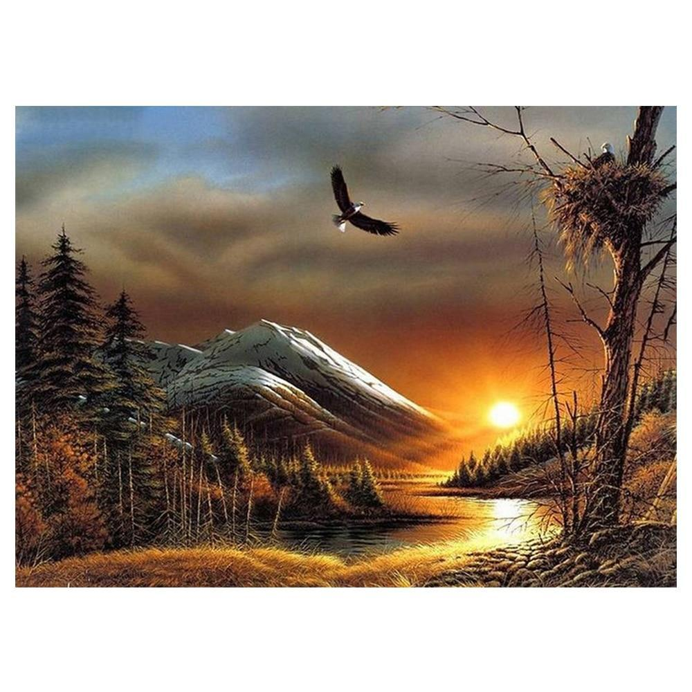 5D Diamond Painting Eagle Mountain Sunset Kit