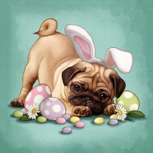 5D Diamond Painting Easter Bunny Pug Kit